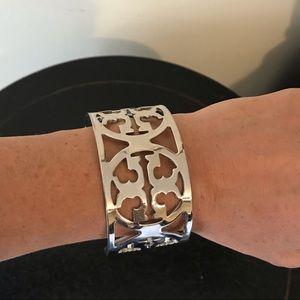 Troy Burch logo silver bangle bracelet